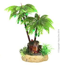 Aqua One Hermit Crab Palm Tree with Hut Ornament|