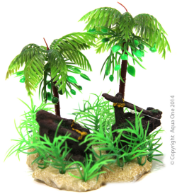Aqua One Hermit Crab Palm Tree with Shipwreck Ornament|