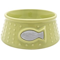 Catit Style Round Ceramic Lime Dots Cat Dish|