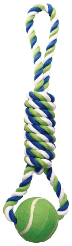 Dogit Dog Knotted Rope Toy, Spiral Tug with Tennis Ball|