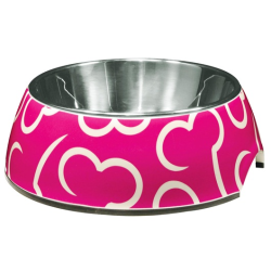 Dogit Style 2-in-1 Dog Dish Pink Bones 350mL S|