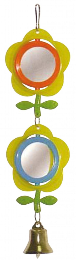 BirdLife Two Flower Mirrors w/Bell Bird Toy|