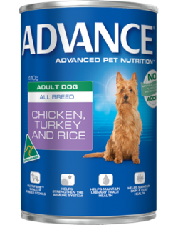 Advance Adult All Breed Chicken, Turkey & Rice 410g x 12 cans/Tray|