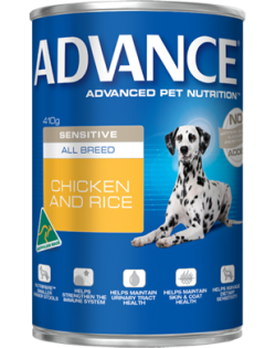 Advance Sensitive All Breed Chicken & Rice 410g|