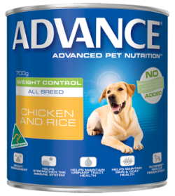 Advance Weight Control All Breed Chicken & Rice 700g x 12 cans/Tray|