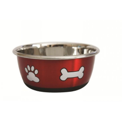 Durapet Fashion Paw & Bone Bowl 1.90L Metallic Red|