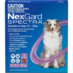 NexGard Spectra Chewables for Dogs Purple 15.1-30kg 3 Pack|