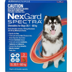 NexGard Spectra Chewables for Dogs Red 30.1-60kg 3 Pack|