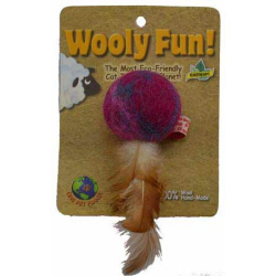 One Pet Planet Wooly Fun Feather Ball 4cm Cat Toy|