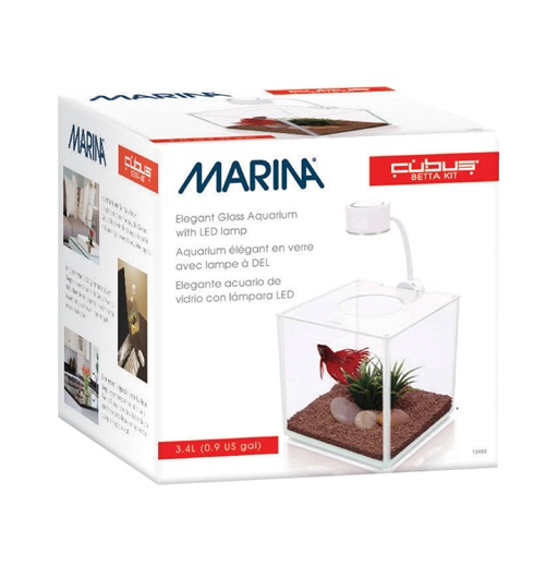 Pet Shop Direct Marina Cubus Glass Betta Tank With Led Lamp 3 4 L