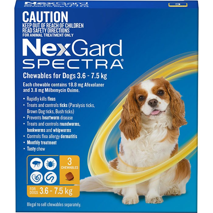 Nexgard Spectra Chewables For Dogs Yellow 3 6 7 5kg 3 Pack
