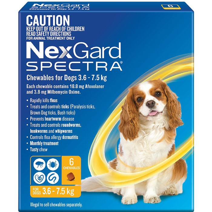 Nexgard Spectra Chewables For Dogs Yellow 3 6 7 5kg 6 Pack
